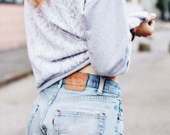 LEVIS ONLY!! Cut off shorts, vintage mid-high waist, distressed shorts, levi shorts, cut off denim shorts distressed levis
