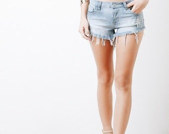 Denim Shorts Distressed mid waist shorts/All Sizes/Made to Order/Sizes S-XXL/Vintage Shorts/Frayed Edges plus size