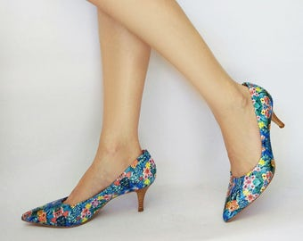 Floral heels, Unique heels, Women shoes, Party heels, Leather pumps, Pumps shoes, Blue heel shoes, Heels pointy shoes, Womens pumps,