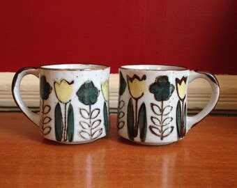 Vintage Pair of Mugs Ceramic with Tulips and Flowers 1960s