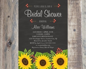 custom sunflowers bridal shower invitation with your party details printable pdf or jpeg