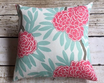 """Pillow Cover in Caitlin Wilson Mint Fleur Chinoise Fabric for a 18""""x18"""" insert-Ready to ship,"""