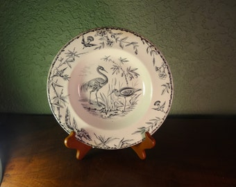 Vintage China, AESTHETIC Staffordshire Black Transferware Soup Plate INDUS, c. 1877, Nature Scene