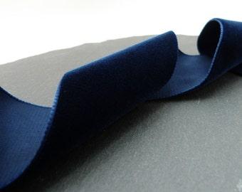 Navy Blue Velvet Ribbon 50mm Wide Berisfords One Sided Per Metre