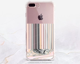iPhone 7 Case Liquid Blush Stripes Clear GRIP Rubber Case iPhone 7 Plus Case iPhone 6 iPhone 6S Case iPhone SE Case Samsung S7 Edge U219