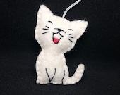 Happy Cat ornament - handmande felt home decoration for kids room Baby shower nursery decor Christmas ornament for cat lover gift idea