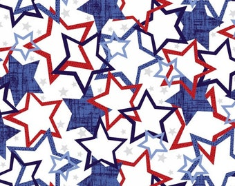 Quilts of Valor Fabric - Red, White and Blue Star Fabric - Choose Navy or White - Quilting Fabric By The Yard - Patriotic Fabric Yardage