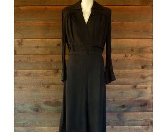 Vintage Dark Brown Wool Crepe Dress with Sheer Sleeves, 1960-70s, Size M