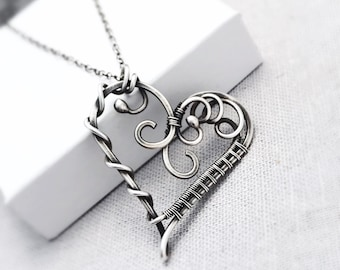 Sterling Silver Heart Necklace   Valentines Day Gift   Antique Silver Artisan Heart Pendant   Gifts for Her   Unique Heart Jewellery