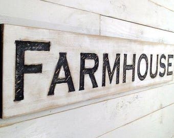 "Farmhouse Sign - Carved in a 48""x10"" Cypress Board Rustic Distressed Shop Advertisement Fixer Upper Style  Wooden Gift"