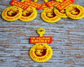 Vintage Smokey the Bear Collectible | Foldover Pinback Button | Prevent Forest Fires | U.S. Forest Service | Repurposing | Vintage Craft