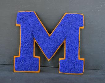 "Vintage Varsity Sports Letter | Small Lettermans Letter  ""M"" | Blue and Gold | Vintage Collegiate | High School Varsity | Vintage Sports"