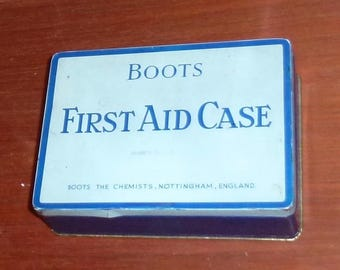 Vintage 50's Boots first aid kit tin and contents re enactment advertising