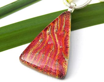 Russet Dichroic Glass Triangular Pendant, Fused Glass Jewellery, Red Art Glass Necklace, Best Friend Gift, Birthday Gift