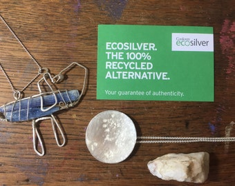 Necklace Eco-Silver Sterling Silver Pendant necklace Large Super moon hand textured with Cornish beach stones