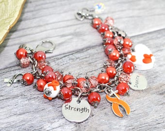 MS Awareness Bracelet in Stainless Steel | Multiple Sclerosis Bracelet |  MS Jewelry |  MS Bracelet |  Orange Awareness Jewelry