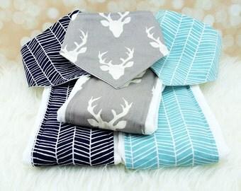 Baby Gift Set - 3 Bandana Bibs and 3 Burp Cloths (choose from over 200 fabrics)