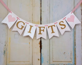 Gifts Banner with Hearts, Cream Pink and Gold Banner, Wedding Shower Banner, Baby Shower Banner, Bridal Shower Decoration, Wedding Decor