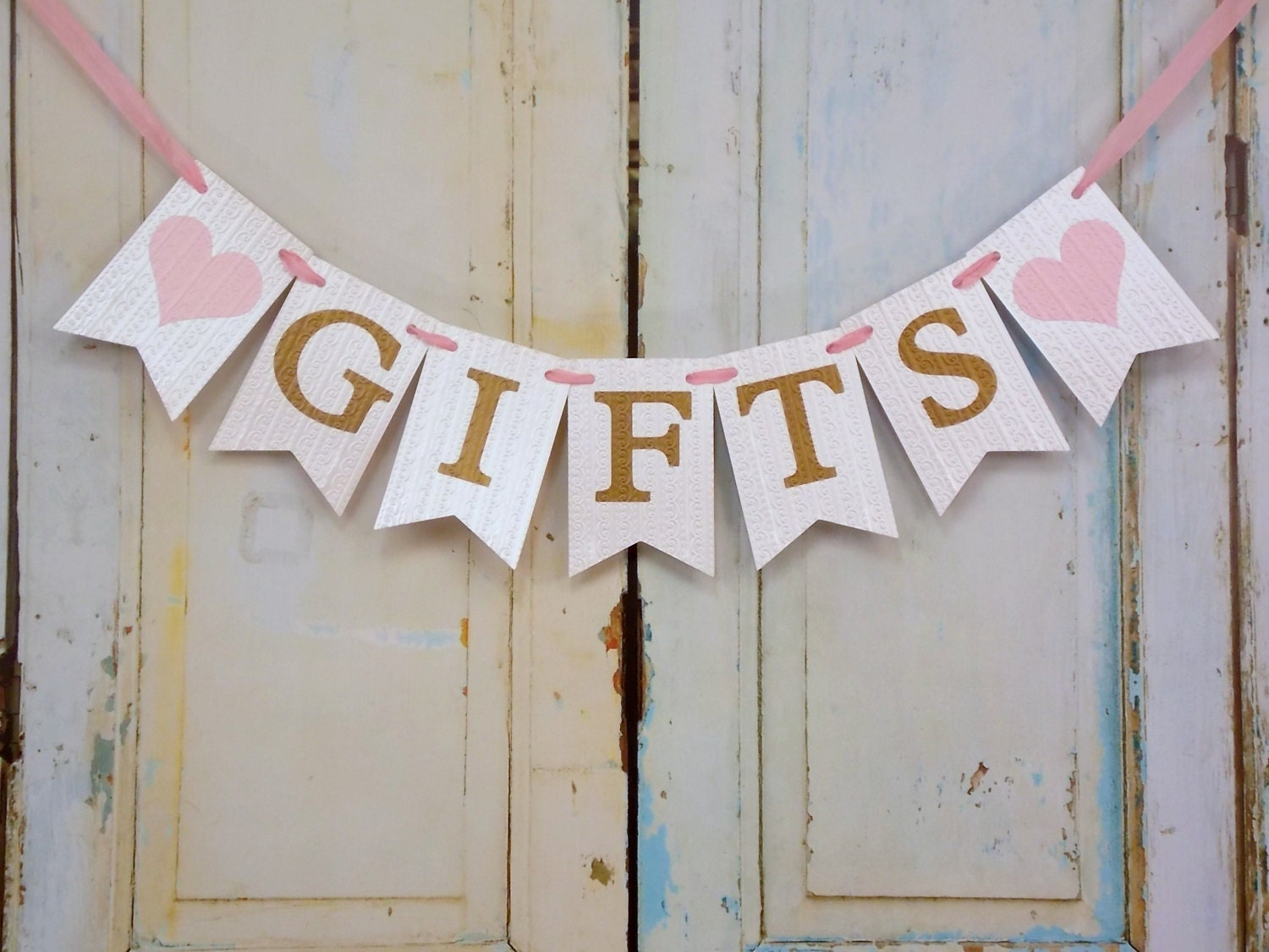 Gifts For Girls On Wedding: Gifts Banner With Hearts Cream Pink And Gold Banner Wedding