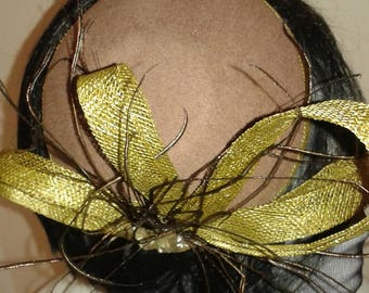 Beige Wool Felt Dome Shaped Fascinator Trimmed with Olive Green Sinamay Loops, Feathers Diamantes