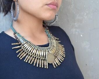 Vintage tribal spike necklace Tharu ethnic necklace vintage spike Nepalese bohemian, rocker handmade brass copper boho ethnic Nepal