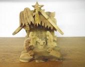 Vintage Olive Wood Hand-Carved Nativity Scene Christmas Collectible Bethlehem Baby Jesus Manger Decoration