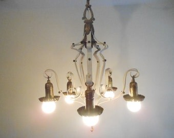 Awesome Antique Brass & Metal Chandelier Ornate Unique Victorian Hollywood Regency Works 5 Lights Complete