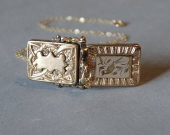 Antique Gold Bird Locket Necklace 12K Gold Filled Square Pendant on Chain Gift for Sweetheart Daughter Monogram 1800s Victorian Jewelry