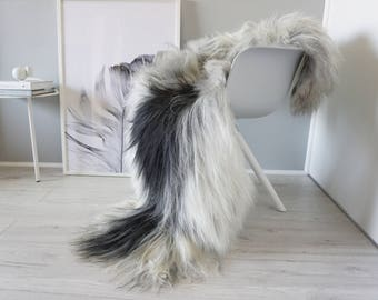 Natural Genuine GIANT XXL Rare Breed Icelandic Sheepskin Rug - Blacky Brown | Grey | White | Silver | Ash Mix - Soft Long Wool - SI 214