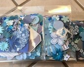 Ephemera 100+ Peice Paper/Embellishment Pack Found Paper Junk Journal Mixed Media Kit in BLUE