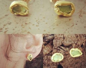 Peridot studs earrings 22kt gold,valentine gift, gift for her,earrings,jewelry, green studs, art jewelry, diti yano , free shipping