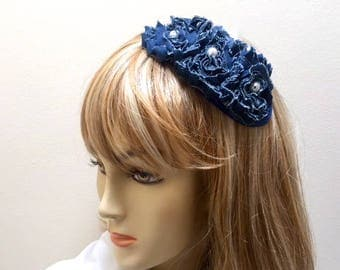 Denim Fascinator, Boho Fascinator, Navy Blue Small Hat, Derby Fascinator, White and Navy Hat