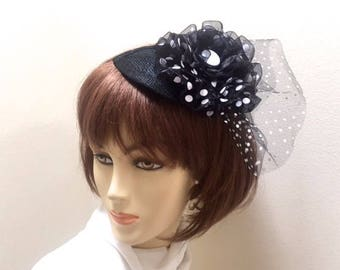 Black and White Polka Dot Fascinator, Polka Dot Small Hat, Black Derby Hat