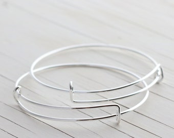 Adjustable Iron Bangle Bracelets - Silver - 2 Bracelets