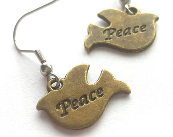 Peace Dove Earrings with Stainless Steel Earwires - brass tone metal charms