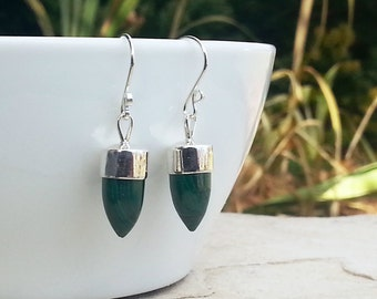Green Malachite and 925 Sterling Silver Bullet Shaped Dangle Earrings, Stone Spikes, Modern Style Drops, Hand Fabricated Gemstone Jewelry