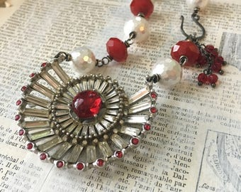Upcycled Red Rhinestone Statement Necklace | Vintage Red Brooch | Czech Glass Beads | Pearls Vintage Wedding Cocktail Necklace