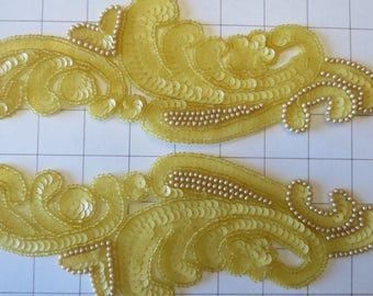 Pair of Mirrored Yellow Sequins and Beaded Appliques Sew on