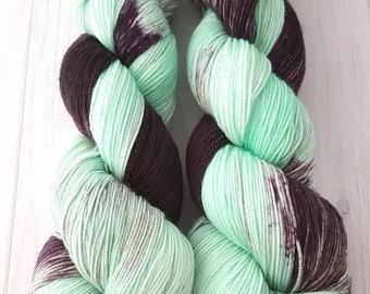 """Hand dyed """"Mint Chip"""" superwash merino sock yarn"""