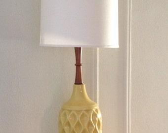 Vintage, Danish Modern,  Mid Century Modern, Ceramic Table Lamp with walnut stem.