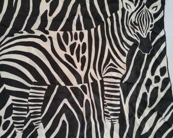 "Vintage Scarf 1980's Silk Mod Square Scarf Black and White Zebra  Black and White Animal Print Scarf 26 1/2""  x  26"""