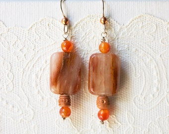 Sunstone and Carnellian Earrings with Wood Bead Copper Ball and Sterling Silver French Ear Wires