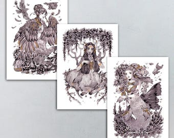 Mythical Creature Harpy, Centaur, Mermaid with Flowers 5x7 Prints Different Finishes Available!