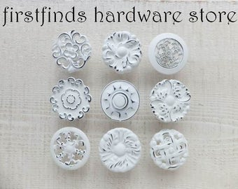 9 White Knobs Drawer Pulls Shabby Chic Furniture Hardware Kitchen Cabinet Painted Cottage Dresser Misfit Cupboard Large ITEM DETAILS BELOW