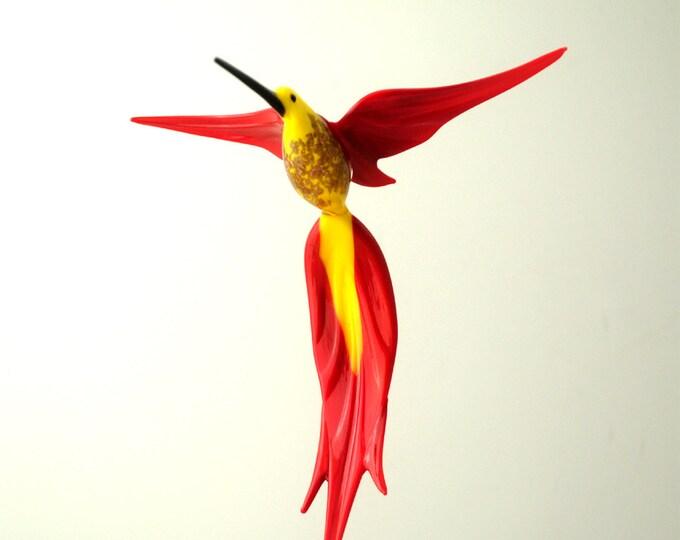 e36-224 Aventurine Hummingbird Yellow Red