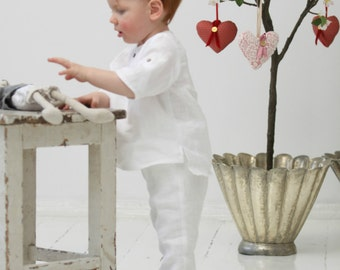 Baby Boy white shirt with Peter Pan collar Linen shirt Baptism