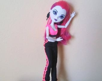 Black Joggers Jogging Pants and Neon Sports Bra for Barbie Monster Ever After Dolls