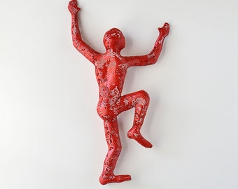 Climbing Figure - metal wall art - Unique gift - wire mesh sculpture - wall hanging - Metal art - red