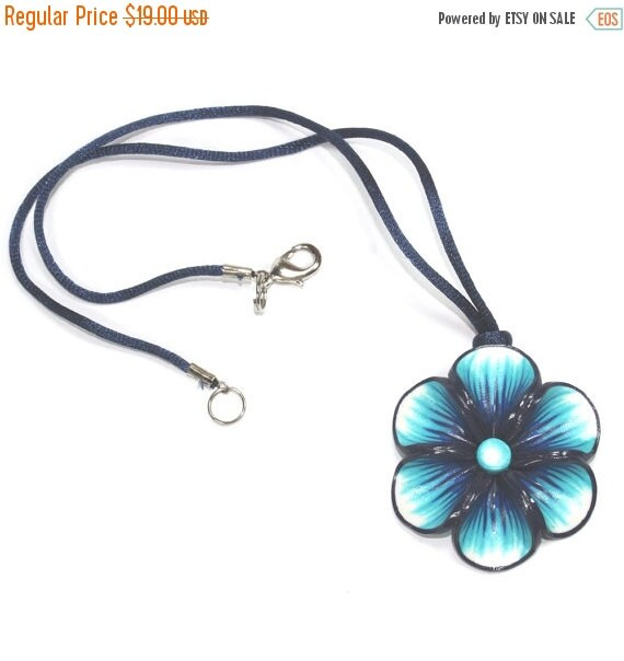 SALE 20% OFF - Blue necklace, Millefiori flower in a variety of blue colors, Spring flower necklace, polymer clay necklace, gift for girls a