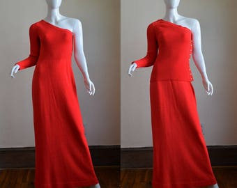 1970s Luxe Vibrant Coral Red Santana Knit One Shoulder Gown with Matching Jacket